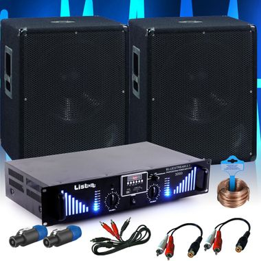 PA extension set 2 x 1200W Omnitronic subwoofer-3000W Bluetooth USB amplifier DJ add-on 10 – Bild 2