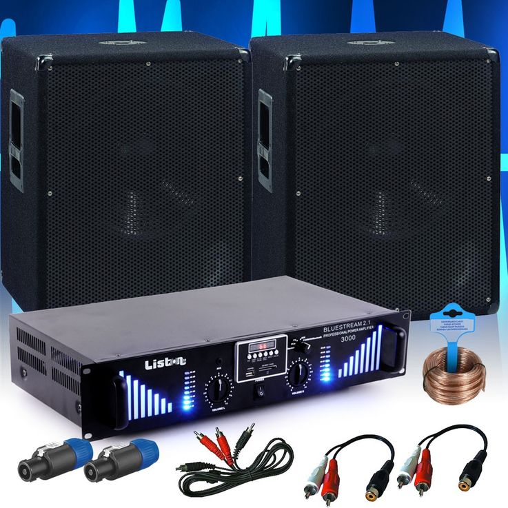 PA Erweiterungs Set 2x 1200W Omnitronic Subwoofer 3000W Bluetooth USB Verstärker DJ-Add-On 10 – Bild 2