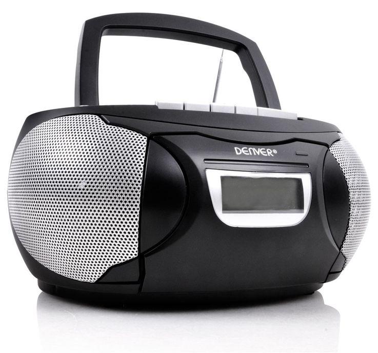 Schwarzes CD-Radio mit Kassettendeck AUX TCP-39 + Kopfhörer – Bild 2
