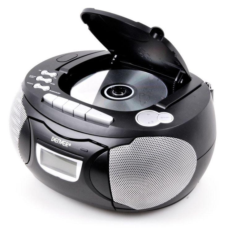 Stereo Musik Anlage CD-Radio AUX Kassettendeck Boombox schwarz im Set inklusive Kopfhörer – Bild 4