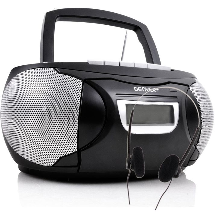 Stereo music system CD radio AUX tape boombox black in the set including headphones – Bild 1