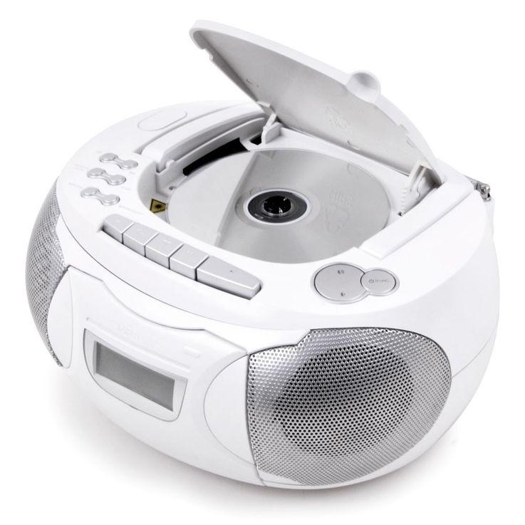 Stereo Musik Anlage CD-Radio AUX Kassettendeck Boombox weiss im Set inklusive Kopfhörer – Bild 3