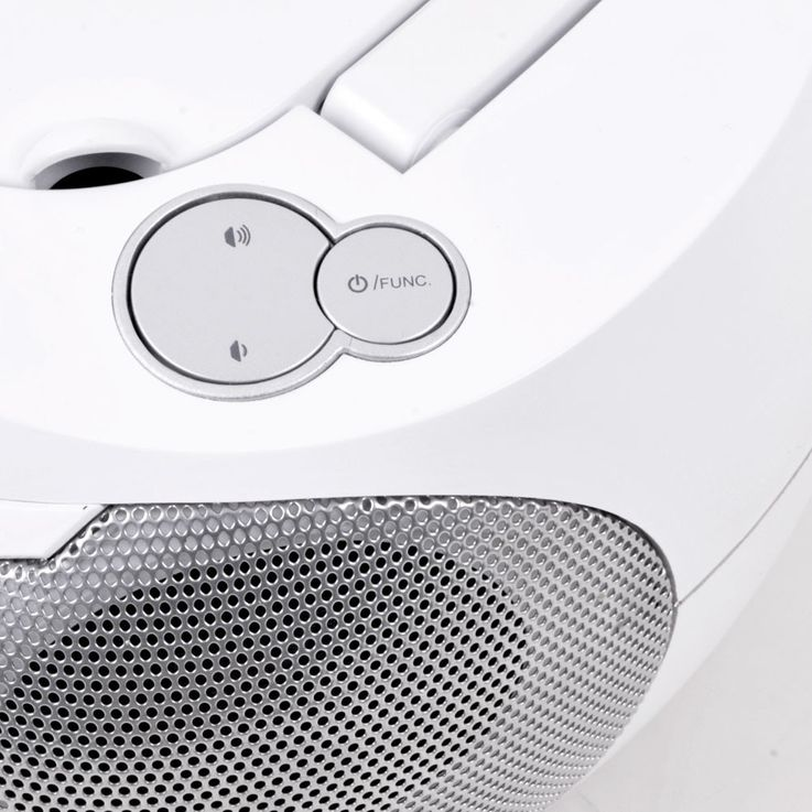 Stereo music system CD radio AUX tape boombox white in the set including headphones – Bild 5