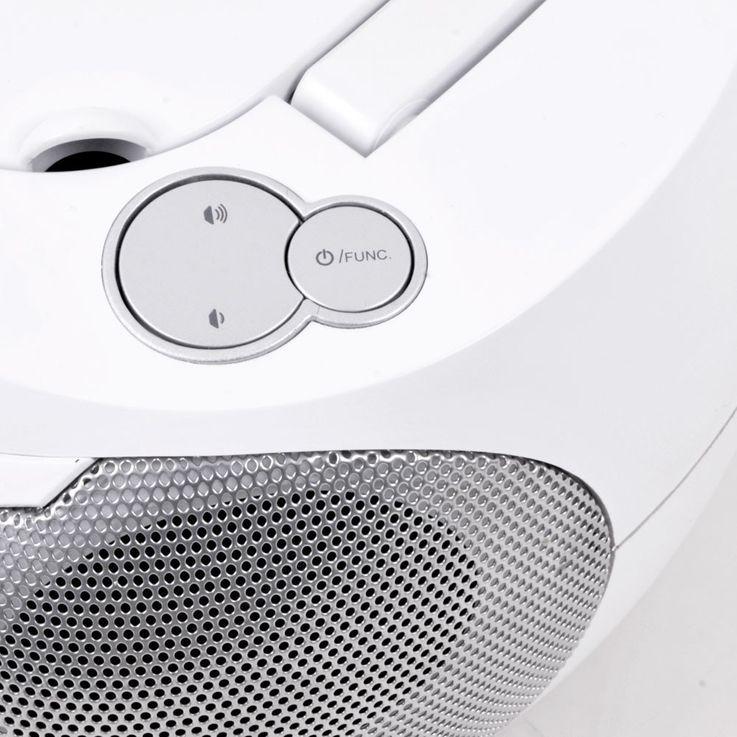 Stereo Musik Anlage CD-Radio AUX Kassettendeck Boombox weiss im Set inklusive Kopfhörer – Bild 5