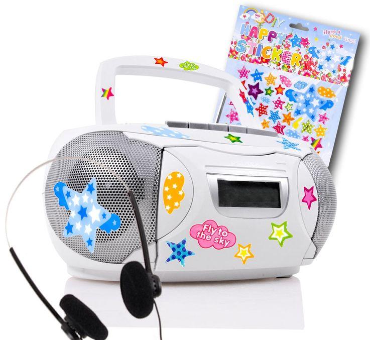 Chaîne hi-fi stéréo lecteur de cassettes CD AUX boombox blanc autocollants – Bild 1