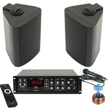 Waiting room office space PA system USB Bluetooth amplifier 2 x boxes black DJ-Business 2 – Bild 1