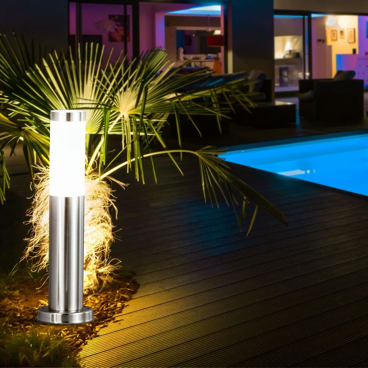 4 set RGB LED floor lamp made of stainless steel for your garden – Bild 15