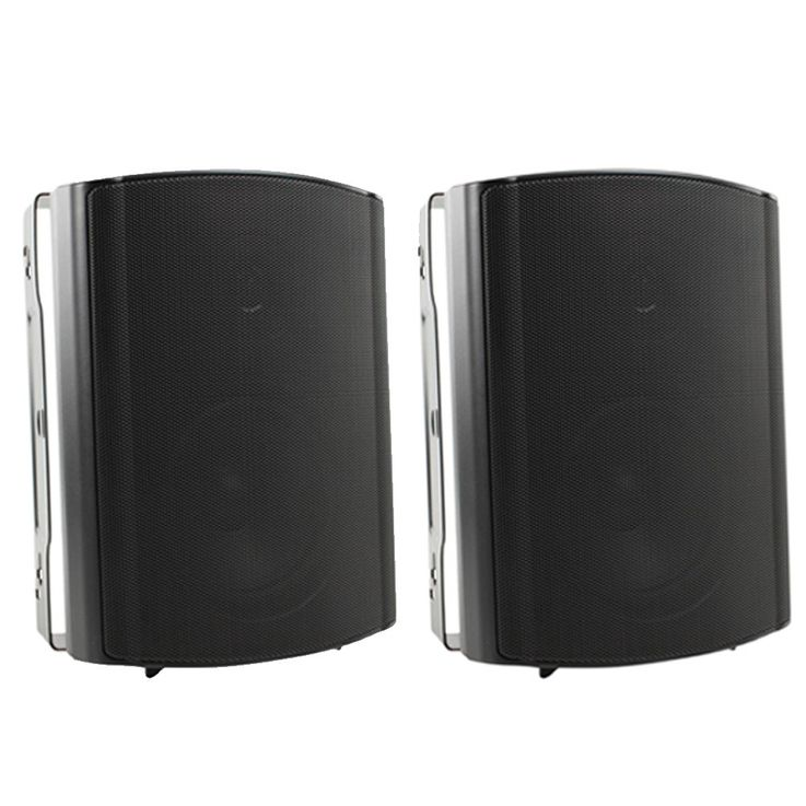 Set of 2 outer 2-way compact gastronomy speaker boxes IP54 black – Bild 1