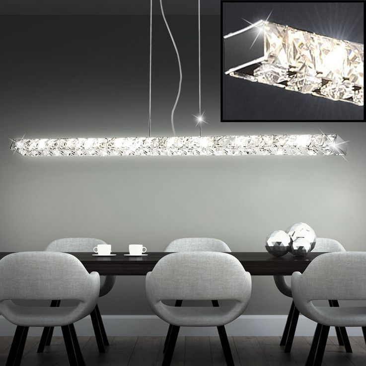 High-quality LED pendant with clear glass crystals – Bild 2