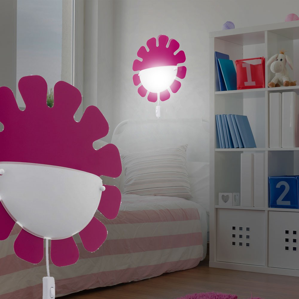 hochwertige led kinderzimmer wandleuchte in pink. Black Bedroom Furniture Sets. Home Design Ideas