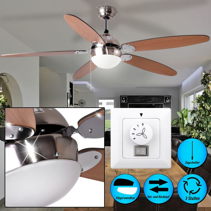 Ceiling fan with wall switches and lighting – Bild 2