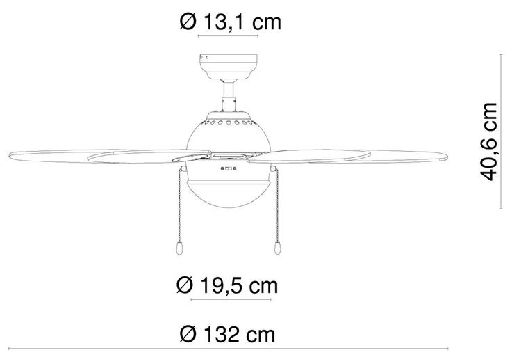 Ceiling fan with wall switches and lighting – Bild 12