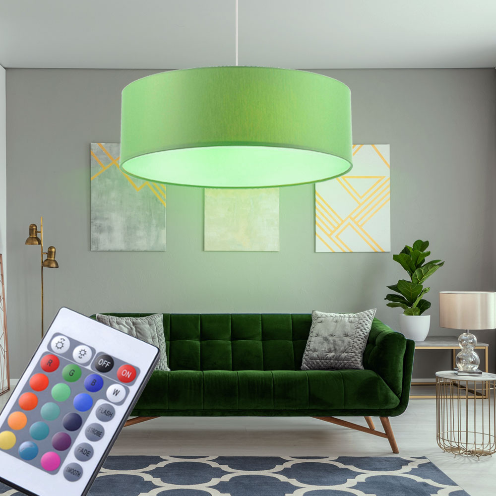 rgb led pendel leuchte k chen h nge decken strahler textil dimmer fernbedienung ebay. Black Bedroom Furniture Sets. Home Design Ideas