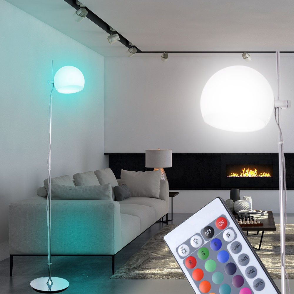 design steh lampe fernbedienung rgb led arbeits zimmer stand leuchte glas kugel ebay. Black Bedroom Furniture Sets. Home Design Ideas