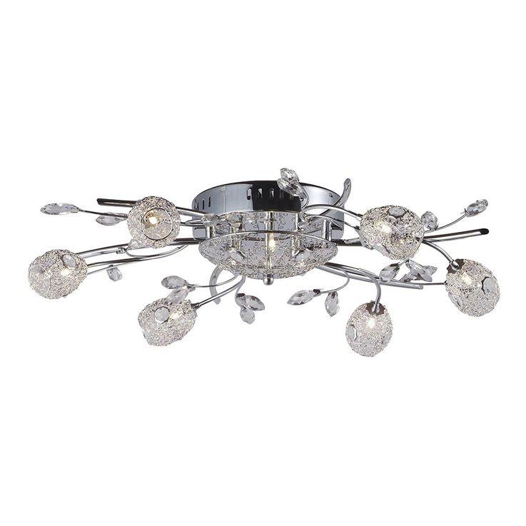 Kunstvolle 9-flg Decken Leuchte Lampe Gästezimmer Chrom Glas Küche Globo 67144-9 – Bild 5