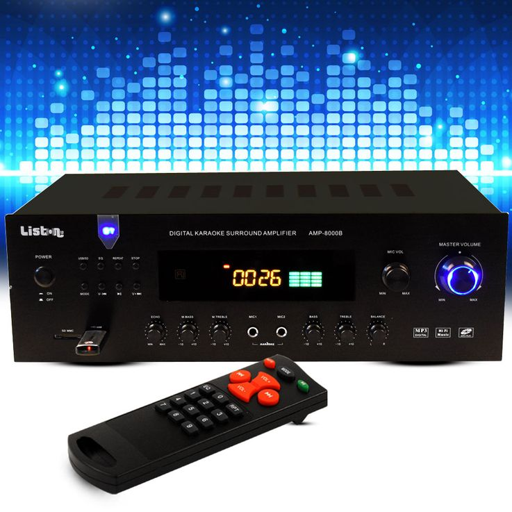 600 Watt PA amplifier party compact system receiver Bluetooth MP3 USB FM radio Liston AMP 8000 B – Bild 2