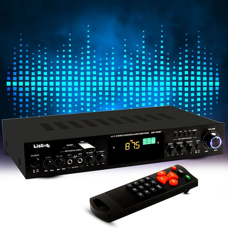 HiFi karaoke amplifier compact receiver 275 W Bluetooth MP3 USB SD Liston AMP 7000 BT – Bild 2