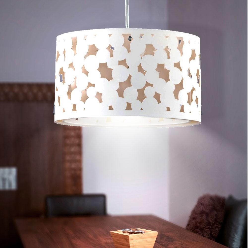 luminaire suspendu de plafond h tel chambre clairage tissu abat jour rond ebay. Black Bedroom Furniture Sets. Home Design Ideas