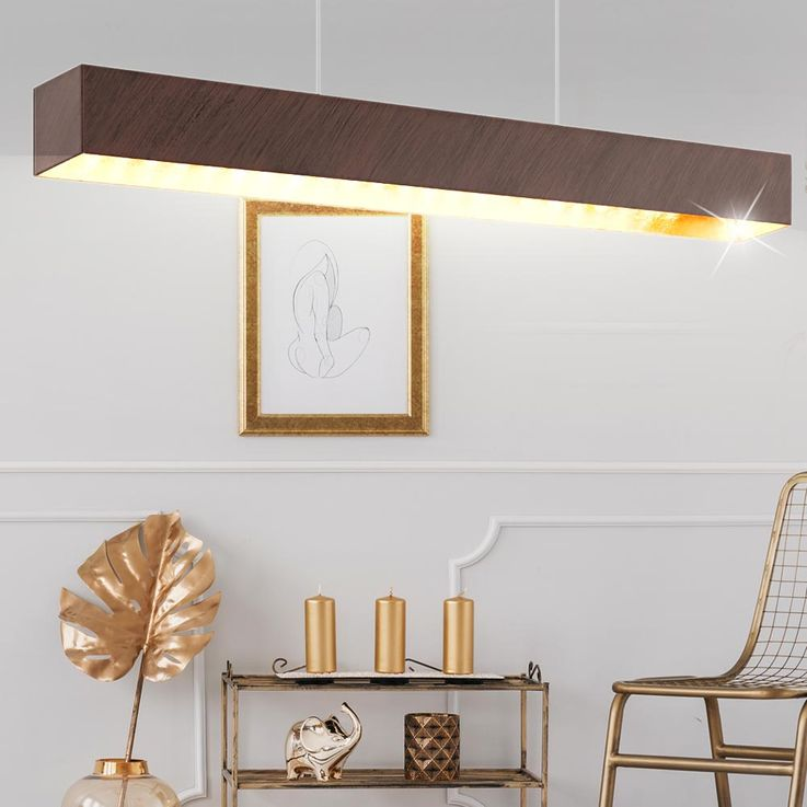 Elegant LED hanging lamp as a wood and glass – Bild 2