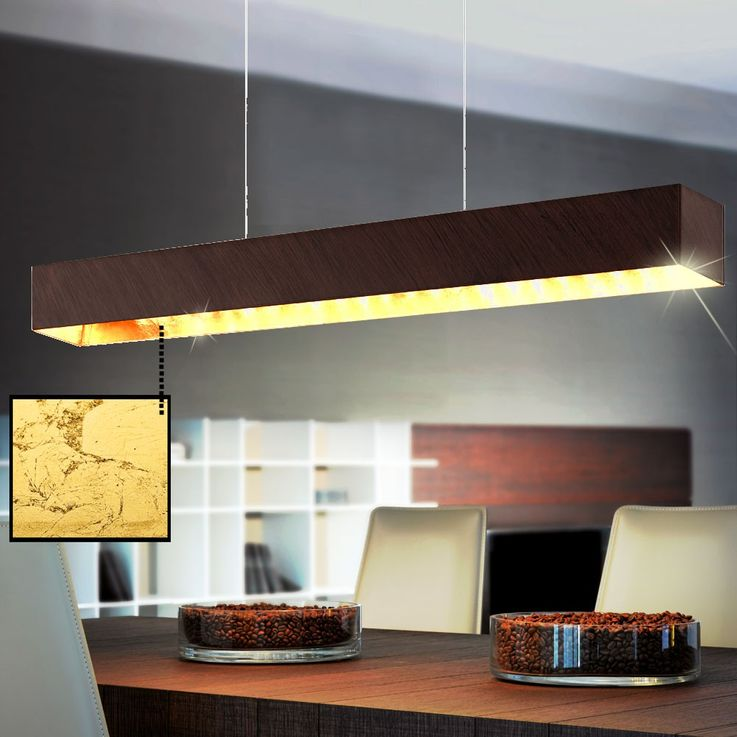 Elegant LED hanging lamp as a wood and glass – Bild 4