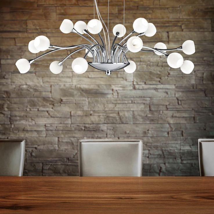 Suspension haute qualité lustre verre blanc opale salle de séjour éclairage – Bild 3