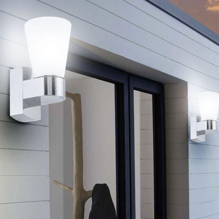 Außen Beleuchtung Strahler Wand Lampe Leuchte Licht IP44 Glas satiniert Eglo 91988 – Bild 3
