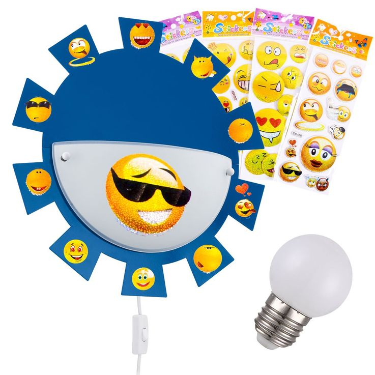 LED nursery lamp with smiley face stickers – Bild 1