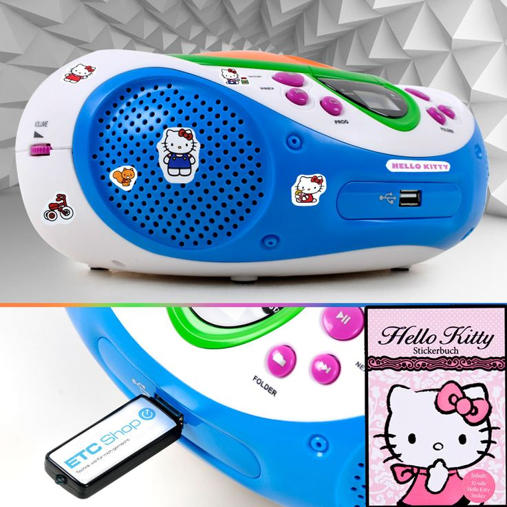 HiFi radio party music stereo system CD MP3 AUX USB player nursery set including Hello Kitty sticker – Bild 2