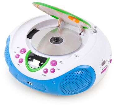 Stereo Musik Anlage Kinder Radio Toplader CD/MP3-Player AUX USB Spielzimmer im Set inkl. Smiley Sticker – Bild 4