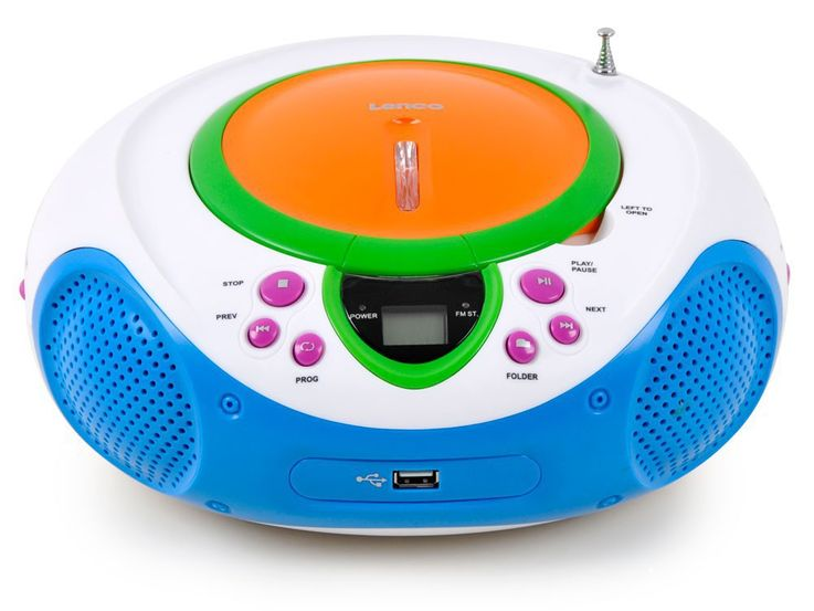 Stereo music system children radio top loading CD/MP3-player AUX USB game room in the set incl. smiley stickers – Bild 2