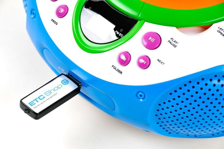 Stereo music system children radio top loading CD/MP3-player AUX USB game room in the set incl. smiley stickers – Bild 5