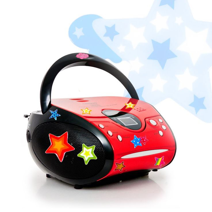 CD player FM radio kids boom box music stereo system in the set including asterisk stickers – Bild 1