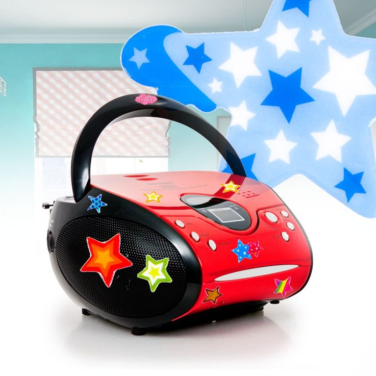 CD player FM radio kids boom box music stereo system in the set including asterisk stickers – Bild 2