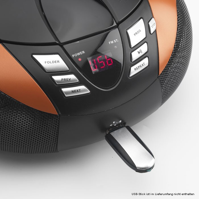 Tragbarer CD-Player mit UKW MW Radio Tuner MP3 WMA USB mit Puffy Sticker – Bild 5
