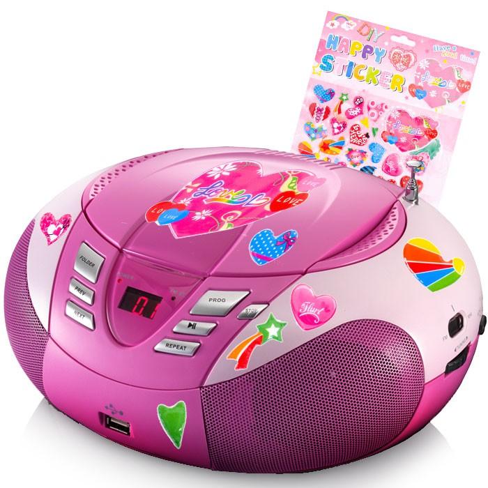 Design CD Player SCD 37 USB pink mit Herzen Aufkleber – Bild 1