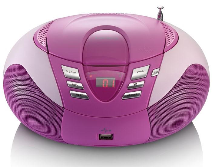 Design CD Player SCD 37 USB pink mit Herzen Aufkleber – Bild 3