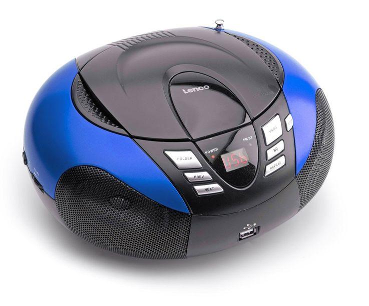 Tragbarer CD/MP3-Player SCD 37 USB blau mit Smiley Sticker – Bild 4
