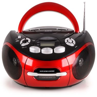 AEG Tragbarer CD-Player Stereo Anlage CD-Radio Kassetten Radio im Set inklusive Smiley Sticker – Bild 2