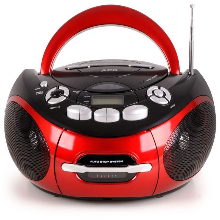 Portable CD player stereo system CD radio cassette radio in the set including smiley stickers – Bild 2