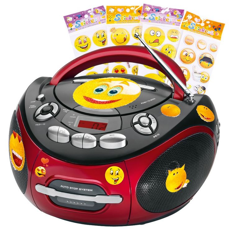 Portable CD player stereo system CD radio cassette radio in the set including smiley stickers – Bild 1