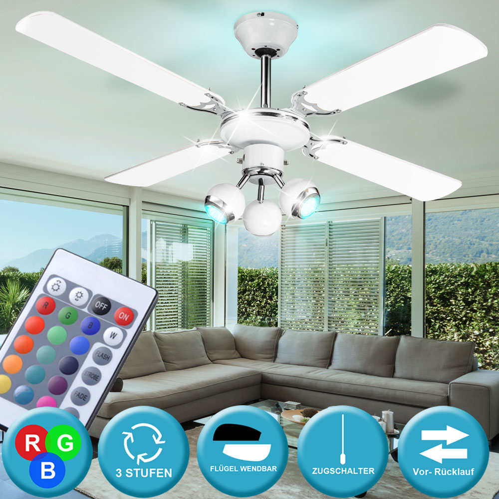 rgb led decken ventilator mit fernbedienung beleuchtung dimmbar leuchte 106cm ebay. Black Bedroom Furniture Sets. Home Design Ideas