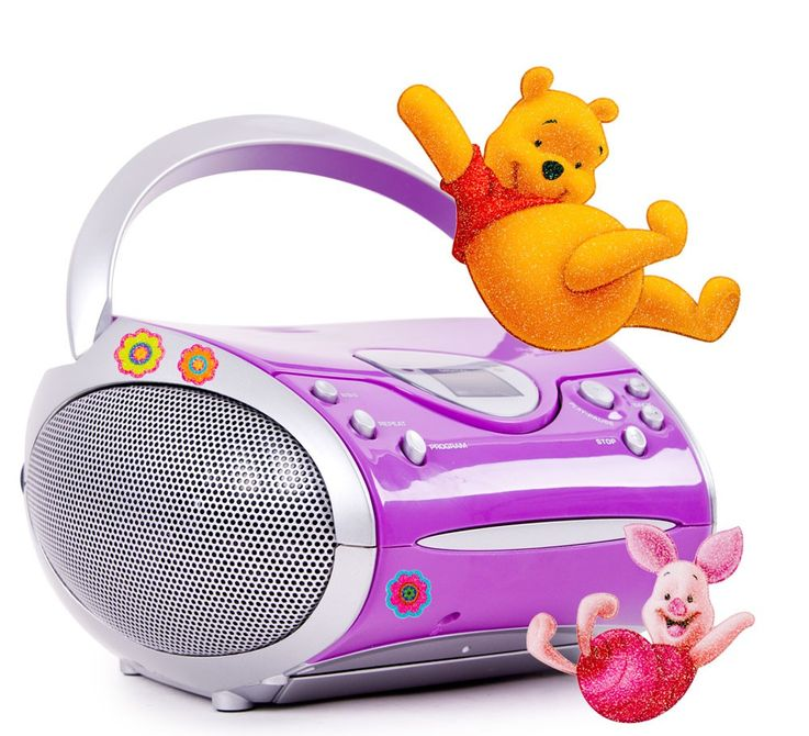Lecteur CD portable filles musique MP3 radio lilas autocollants Winnie l'Ourson  – Bild 1