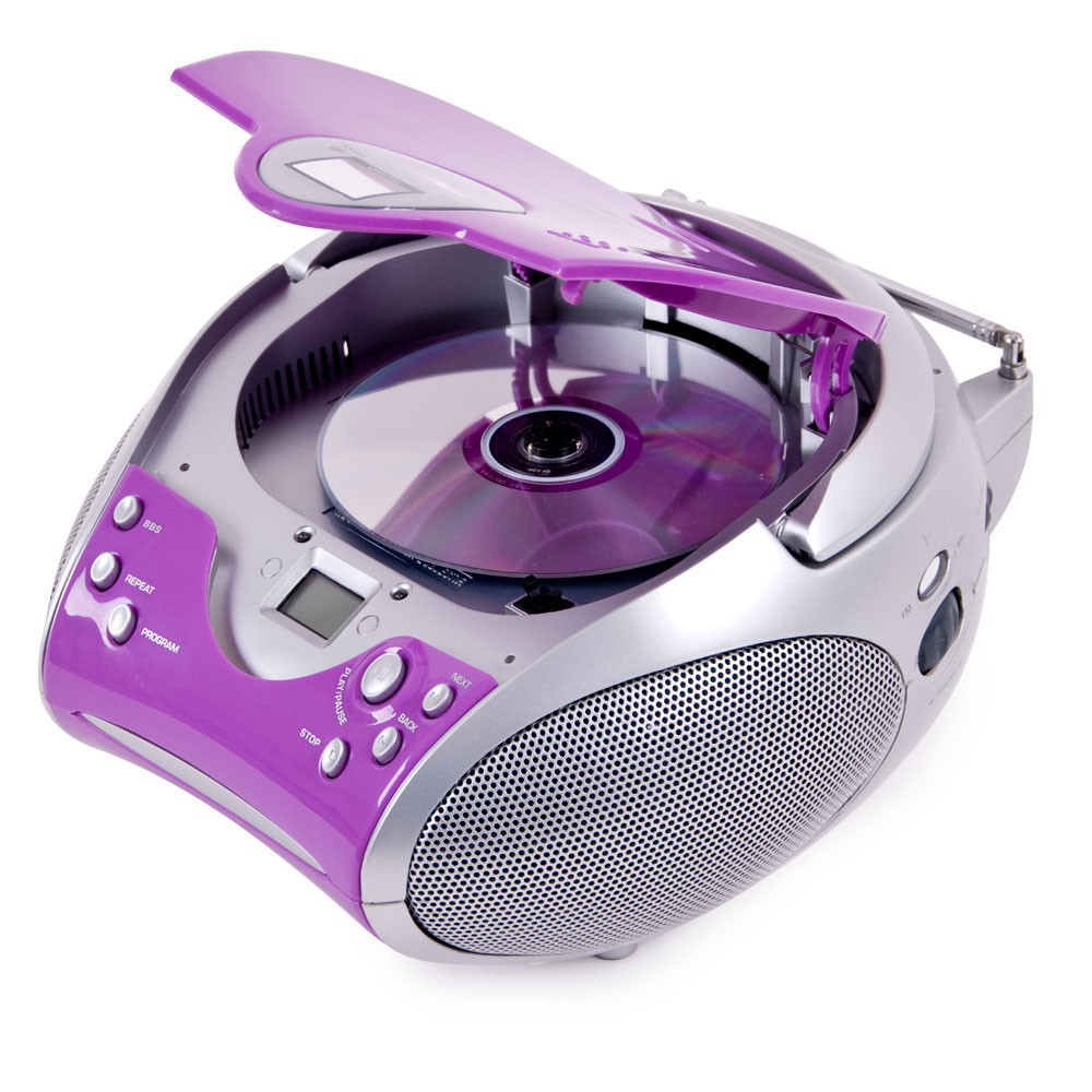 lecteur laser cd portable filles cha ne hi fi musique mp3 radio lilas casque ebay. Black Bedroom Furniture Sets. Home Design Ideas