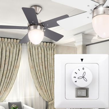Ceiling fan cooler living room light pull lighting include wall switches in Set – Bild 7