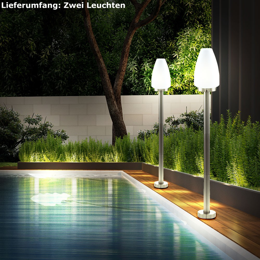 2er set led stand leuchten glas au en lampen edelstahl. Black Bedroom Furniture Sets. Home Design Ideas