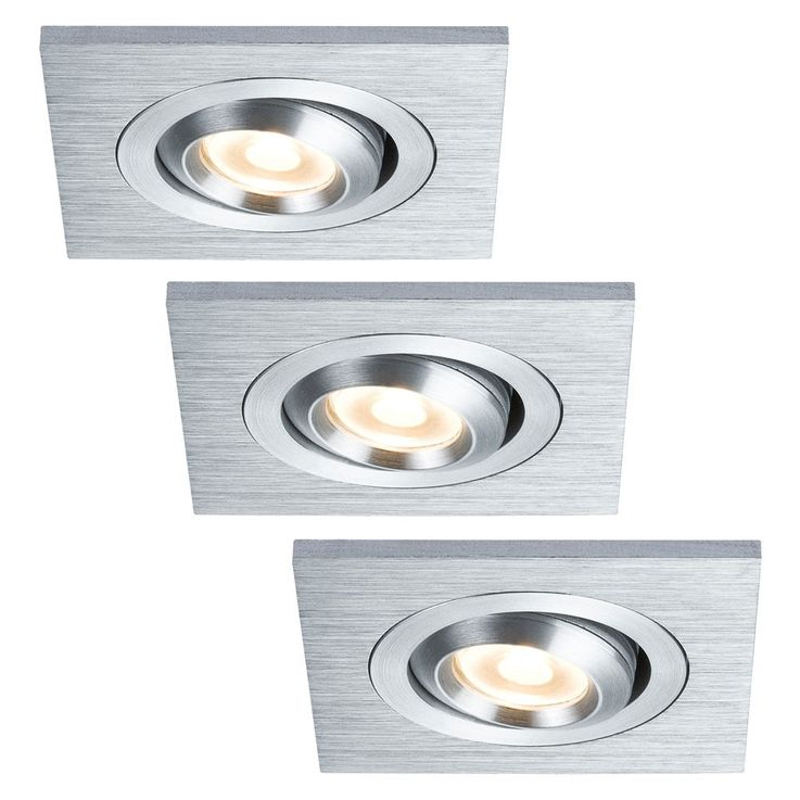 3 set LED spotlights kitchen floor recessed square verstellbar Paulmann 925.24 – Bild 1