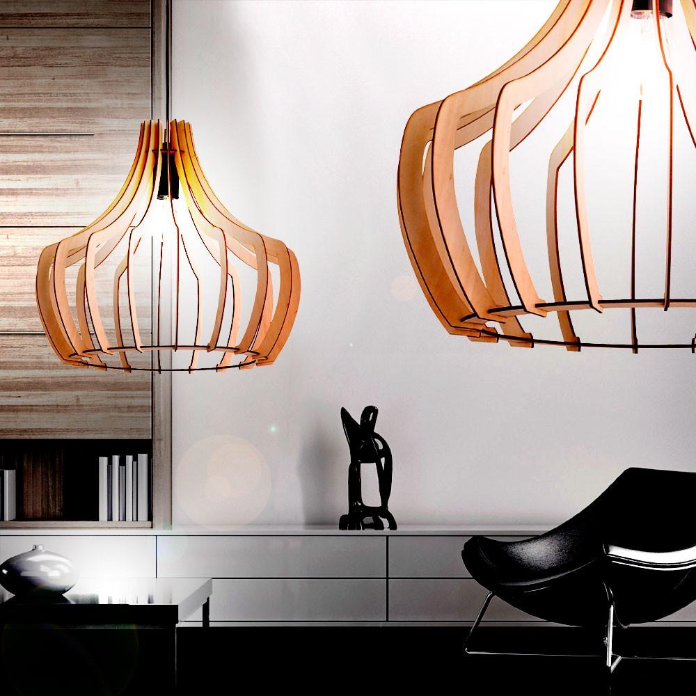rgb led pendelleuchte mit einem lampenschirm aus holz. Black Bedroom Furniture Sets. Home Design Ideas