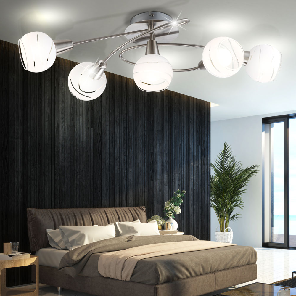 led plafonnier salle manger lampe home office perles de verre 5 flamme lumi re ebay. Black Bedroom Furniture Sets. Home Design Ideas