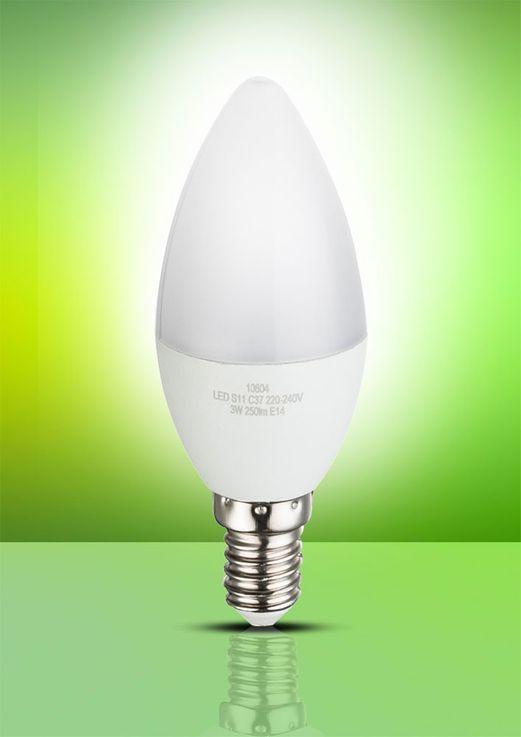 LED 3 Watt Kerzen Form Leuchtmittel 250 Lumen Leuchte Sockel E14 3000 Kelvin Globo 10604 – Bild 4