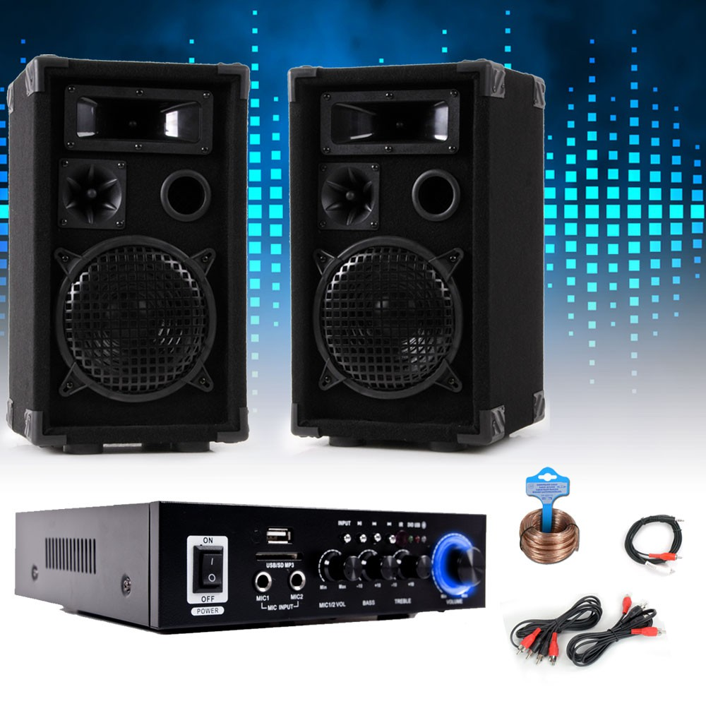pa set mit boxen und karaoke bluetooth verst rker dj party 9 audio technik dj equipment. Black Bedroom Furniture Sets. Home Design Ideas
